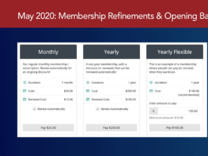 May 2020 Release: Membership Refinements, Maintenance History, Opening Balance & More