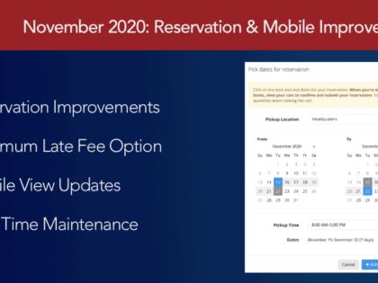 November 2020: Reservation, Inventory, & Mobile Improvements