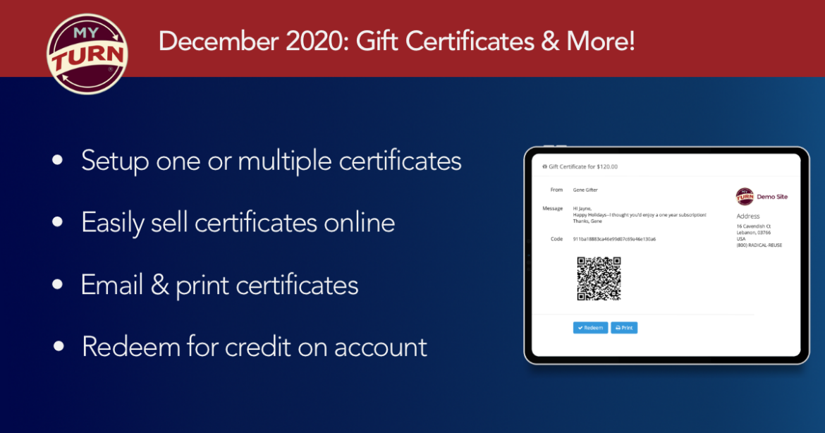 Create, sell, email & print, and redeem gift certificates