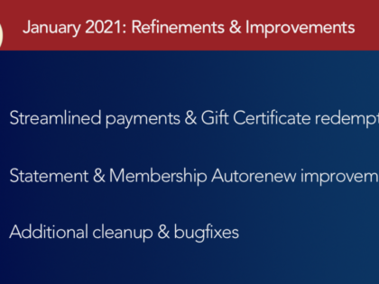 January 2021: Refinements and improvements for Gift Certificates & more