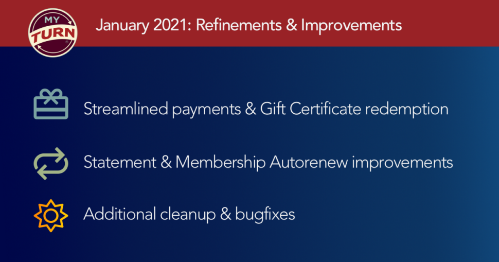 January 2021: Refinements & Improvements